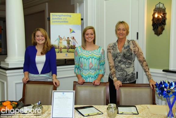 Marieka Wood, Courtney Wood and Emmy Marshall with Prevent Child Abuse NC