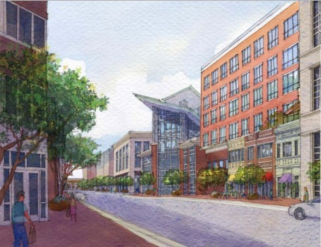 Artist's rendering of an Obey Creek streetscape.