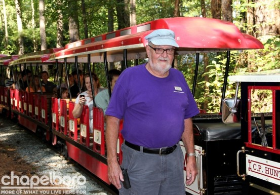 Tom Golden is our conductor on the Pumpkin Patch Express!