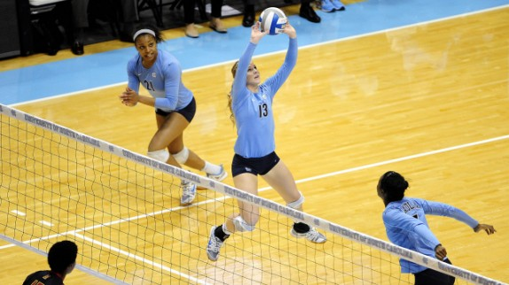 UNC Volleyball action court
