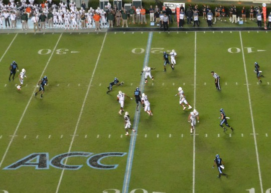 Bird's eye view of Norkeithus Otis' second half interception.
