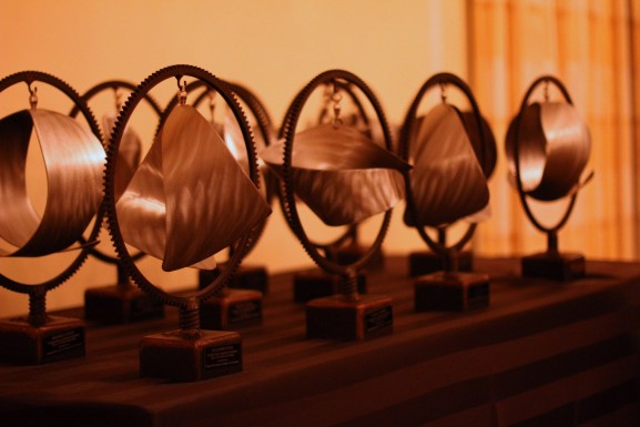 The awards were designed by metal sculptor Mike Roig