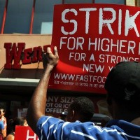 A recent fast food worker strike; Getty Images